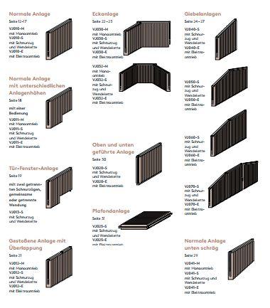 Sonnenschutz LEHA - Vertikaljalousien Vertikaljalousien Bauformen